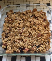 Katya's Apple/Berry Crisp  is packed with Fuji apples and strawberries.