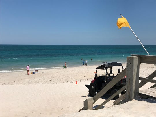 Lifeguards briefly closed Humiston Beach Park in Vero Beach after a shark was spotted by a family in the water around 12:30 p.m. on May 5, 2020. The park was re-opened after 30 minutes, which the lifeguard said was routine with shark sightings.