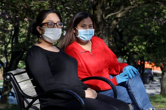 Evelyn Lopez Rodriguez, 20, and Stefanie Nolli Gaspar, 23, both White Plains High School graduates, have co-founded White Plains DREAM Alumni, a foundation to raise funds  for and support undocumented workers who have lost work due to the coronavirus pandemic and are not receiving the same government support that American citizens  are. The two, photographed May 5, 2020, say that more than 200 undocumented immigrants have requestedÊfinancial assistance since the fund was established in mid-April.