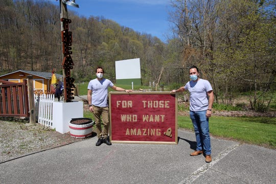 The drive-in movie theater at Four Brothers Pizza Inn on Route 22 in Amenia will be the site for the North Salem graduation in June.Owners and brothers Paul and John Stefanopoulos pose for a photo in front of the screen and parking area May 5, 2020.