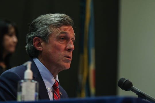 Delaware Governor John Carney gives an update on the state's coronavirus response in Wilmington on Tuesday, May 5.