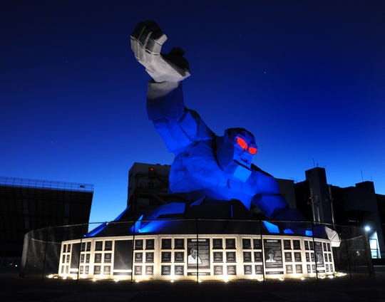 Starting at 7 p.m. Monday night tourist attractions and hotels across Delaware bathed in blue light to say thank those who have served the state's citizens so unselfishly throughout the Coronavirus pandemic.  The Monster Monument at Victory Plaza, sponsored by Ally, has been glowing blue light since mid-April, according to speedway spokesman Mike Lewis.