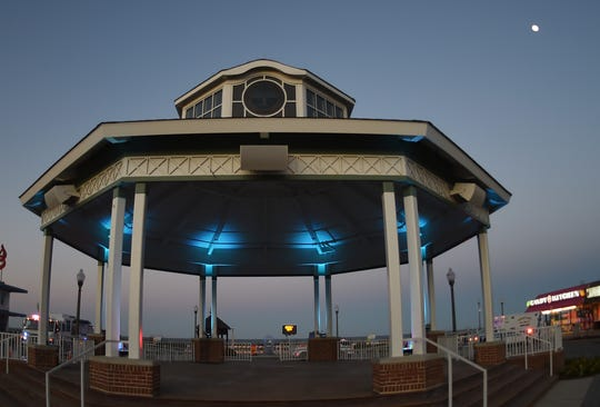 The City of Rehoboth Beach in conjunction with Delaware's tourism industry lighted the Bandstand Blue in support off frontline and essential workers on Monday , May 4, in downtown Rehoboth Beach.