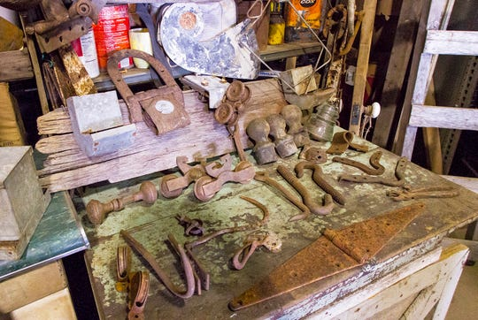 Some of the barn hardware that Dan Sutton has salvaged from barns.