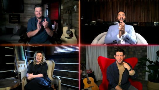 'The Voice' coaches Blake Shelton, clockwise from top left, John Legend, Nick Jonas and Kelly Clarkson were miles apart but together on-screen during Monday's remote edition of the NBC singing competition.