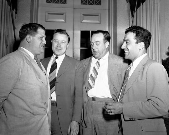 Auto worker Union leaders leaving the White House in Washington on August 28, 1942, from left to right are Richard T. Farankensteen, Walter P. Reuther, R. J. Thomas and George F. Addes.