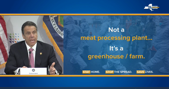 A slide by Gov. Andrew Cuomo on May 6, 2020, showed his concern over an outbreak of coronavirus at a greenhouse in Madison County.