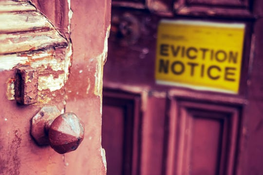 An eviction notice on door