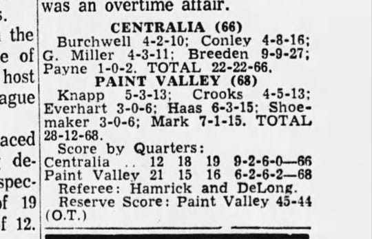 The box score from the Centralia vs Paint Valley 3OT game in 1963.