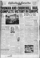 The front page of the Chillicothe Gazette from May 8, 1945.