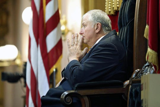 Speaker Larry Householder listens to a representative speak during an Ohio House session at the Ohio Statehouse in Columbus, Ohio, on May 6, 2020.