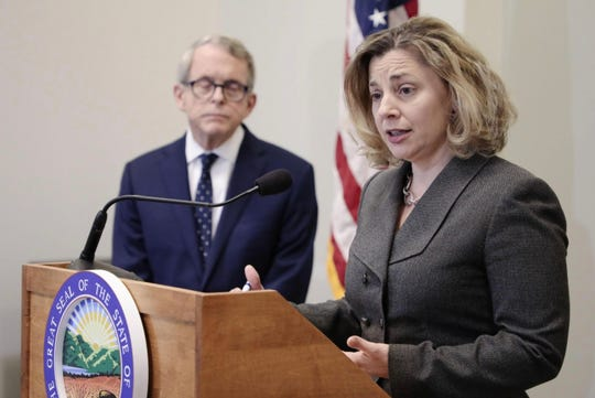 Kimberly Murnieks, director of the Office of Budget and Management, speaks after Ohio Gov. Mike DeWine unveiled his administration's two-year budget proposal on March 15, 2019.