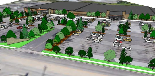 An artist rendition reveals a plan to pepper the Latonia Shopping Center site with trees. Blair Technology Group and ReGadget will remake 200,000-square-feet of space in the former Burlington Coat Factory and Value City stores.