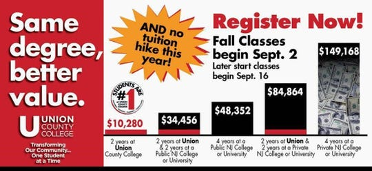 Union County College has frozen tuition for 2020-2021 academic year
