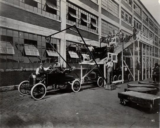 In 1913 this was the final assembly line at the Ford Motor Co.'s Highland Park Plant.  December 10, 1915 saw the millionth Ford car built.