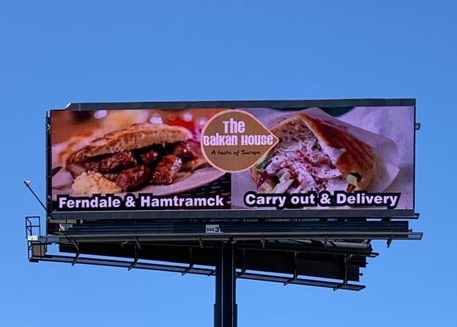 From April 27 to May 5, 2019, a billboard near I-75 & 9 Mile advertised the Balkan House restaurants in Ferndale & Hamtramck, much to the surprise of owner Juma Ekic.