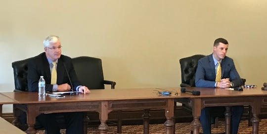 Senate Majority Leader Mike Shirkey, R-Clarklake, left, and House Speaker Lee Chatfield, R-Levering, announce a lawsuit against Gov. Gretchen  Whitmer's emergency powers on Wednesday, May 6, 2020.