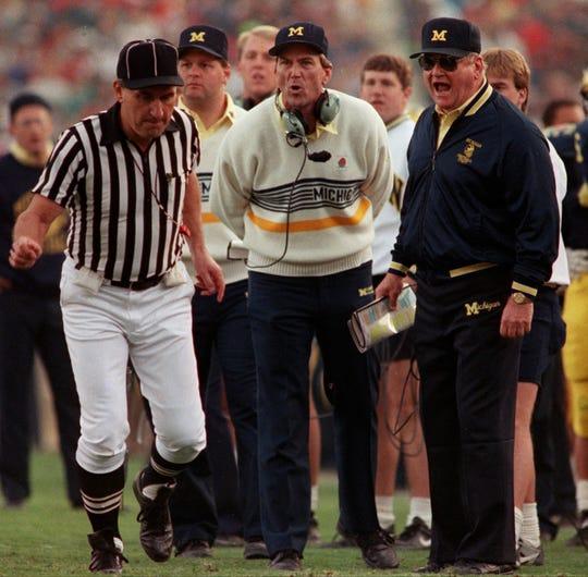 Michigan head coache Bo Schembechler, right, won 194 games in 21 seasons at Michigan.