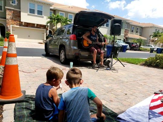 Musician Bob Tabarrini performs at Heather Paton's house in Bonita Springs.