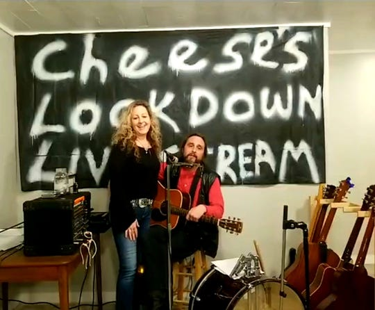 """""""Cheese's Lockdown Livestream"""" happens at 8 p.m. every Wednesday and Saturday on Facebook from the couple's Howard home. They've since graduated to a professional banner done by a listener. Cheese thanked him with his homemade soup and spaghetti sauce."""
