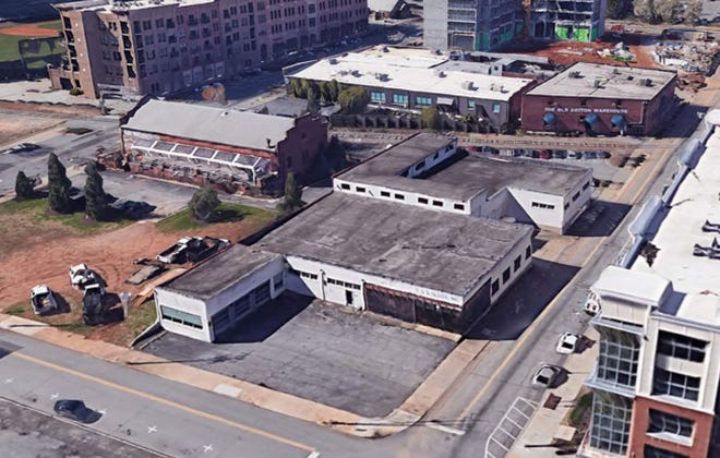 The current abandoned warehouse at the corner of Rhett and Wardlaw streets that would be turned into a music and event venue in the downtown Greenville's West End.