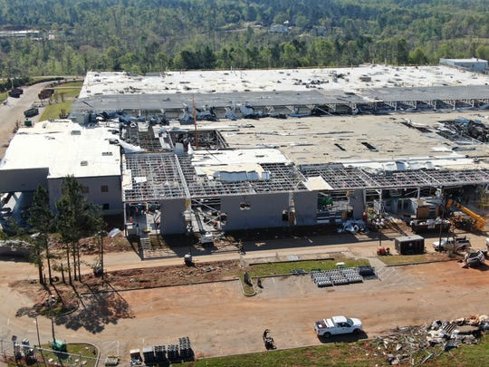 BorgWarner Seneca plant two weeks after being severely damaged in the EF3 tornado, which touched down in Oconee County on April 13.