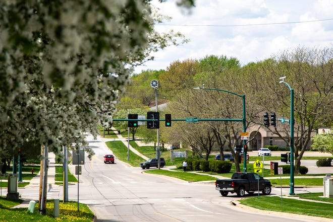 An outdoor weather alert siren is seen, Wednesday, May 6, 2020, along Court Street in Iowa City, Iowa. Johnson County tests its sirens at 10 a.m. on the first Wednesdays of each month.
