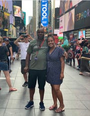 Arthur Reggans, 56, of Gautier, Miss., takes in the sites in New York City with his daughter, DeAndria Turner.