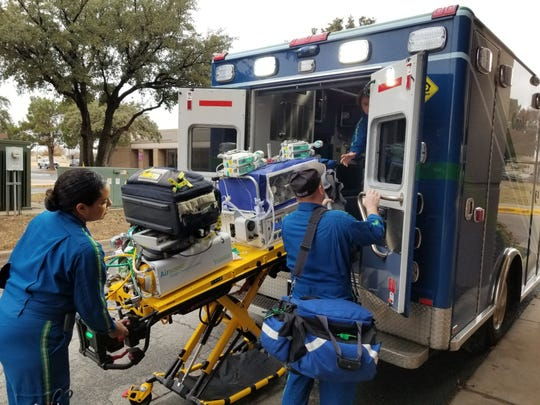 One of the preemie Morgan twins is loaded for transport from Abilene to Fort Worth, Texas.
