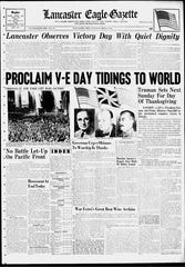 The front page of the Lancaster Eagle-Gazette from May 8, 1945.