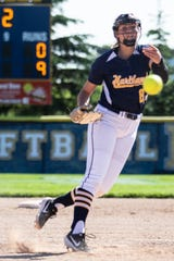 Hartland pitcher Rachel Everett has a 49-8 record in two seasons.