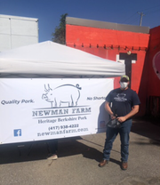 Newman Farms delivers to Memphis every other Friday. The truck is parked at Memphis Made Brewing Co. for pickups of their heritage breed pork products.