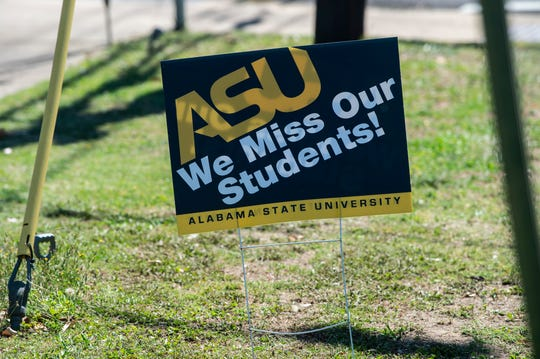 Signs on the Alabama State University campus in Montgomery, Ala., on Wednesday, May 6, 2020. ASU is offering coronavirus testing to those in nearby neighborhoods.