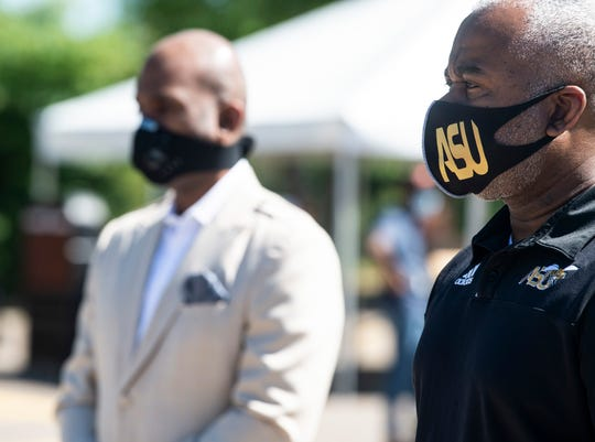 ASU President Quinton Ross during a press conference at a coronavirus testing center on the Alabama State University campus in Montgomery, Ala., on Wednesday, May 6, 2020. ASU is offering coronavirus testing to those in nearby neighborhoods.