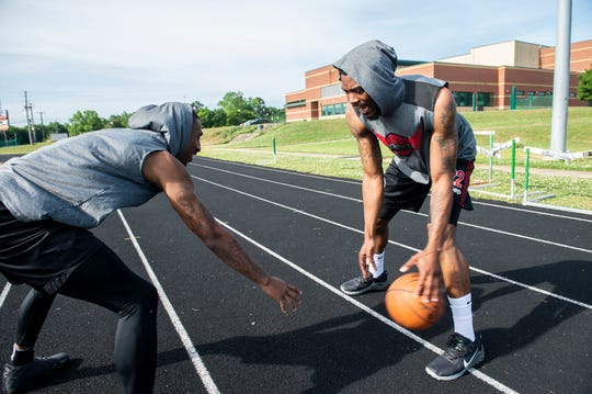 Craig Sword and Jamarr Sanders of Dream Big Sports pose for a portrait in Montgomery, Ala., on Tuesday, May 5, 2020.