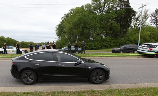 A 42-year-old woman driving this black Tesla was shot on April 23 at around 11:15 a.m. The Rutherford County Sheriff's Office is now offering a reward up to $10,000 for information leading to the arrest and prosecution of the person who fired the shot.