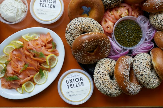 Bagels, lox (salmon) and a schmear (cream cheese) are among the items available for take out at Union Teller in downtown Nashville