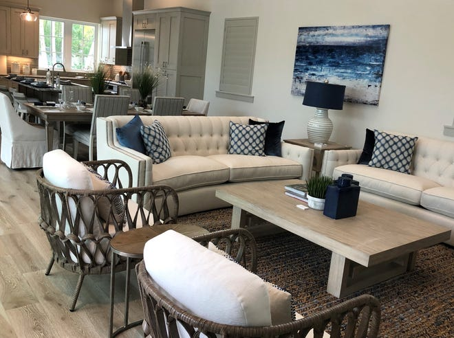 Furnishings were recently installed in this Mercato residence, the 12th Lutgert model completed by CDH designers.