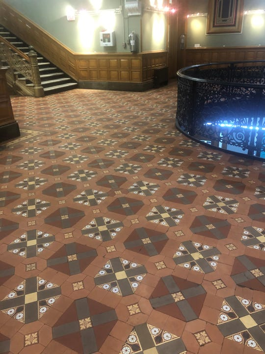 Work done during the first weekend in May at City Hall in Jersey City uncovered the building's original tiled floor.