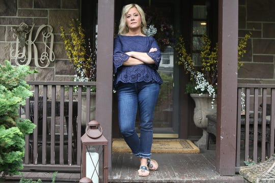Bridget Anne Kelly at her home two days before she is sentenced for her role in Bridgegate. Here is Bridget on her front porch.