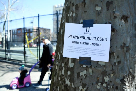 Church Square Park in Hoboken, closed since mid-March due to coronavirus, is one of the city's municipal and county parks that is part of the gradual reopening announced Tuesday, May 5, 2020. The reopening will begin Friday, May 8.