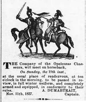 Advertisement in the Opelousas Gazette for a rendezvous of the Opelousas Chasseurs set for Sunday, November 19, 1837.