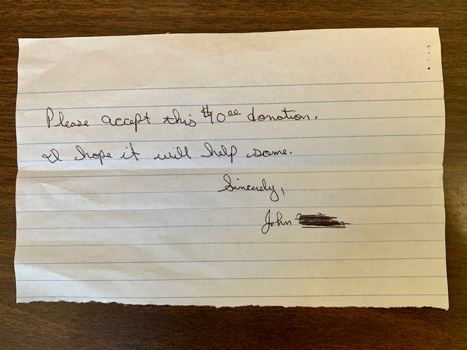 """Enclosed in a letter to The Society of St. Vincent de Paul was a check and a note on a half sheet of lined paper: """"Please accept this $10 donation. I hope it will help some."""""""