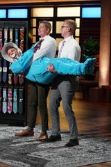 Kevin Shoemaker and Skylar Bennett make their pitch for Tough Apparel on ABC's 'Shark Tank.'