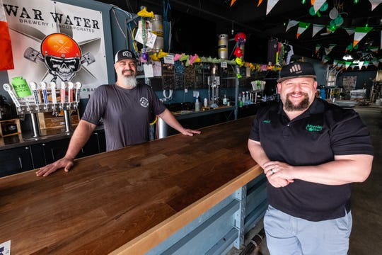 Kris Paul, owner of War Water Brewery, left and Mitch Kuffa, manager of Murphy Inn, both photographed Wednesday, May 6, 2020 at War Water Brewery in St. Clair, are spearheading a fundraiser for Sheila LaCroix, a local business owner who has cancer.