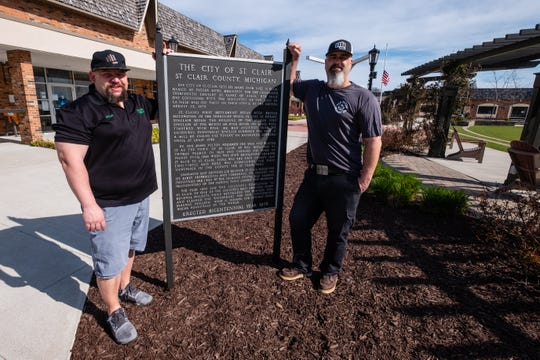 Kris Paul, owner of War Water Brewery, right and Mitch Kuffa, manager of Murphy Inn, both photographed Wednesday, May 6, 2020, at Riverview Plaza in St. Clair, are spearheading a fundraiser for Sheila LaCroix, a local business owner who has cancer.