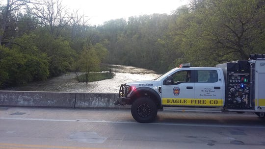 Rescue crews responded Sunday after a father and his two teenage children were reported to be in this creek after their canoe flipped over near the 500 block of Jerusalem School Road in East Manchester Township.