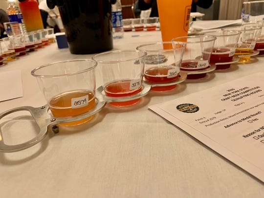 A flight of mixed fermentation sour ales in the qualifying round of the New York State Craft Beer Competition on March 14 in Henrietta.