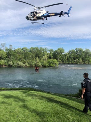 California Highway Patrol and Redding police officers teamed up to rescue five Sacramento River rafters celebrating Cinco de Mayo on Tuesday, May 5, 2020.