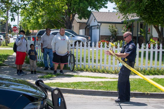 A Salinas Police Department exits the scene of a shooting in East Salinas on Wednesday, May 6, 2020.